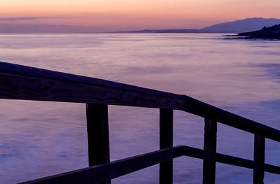 Seaside Railing and Evening Twilight