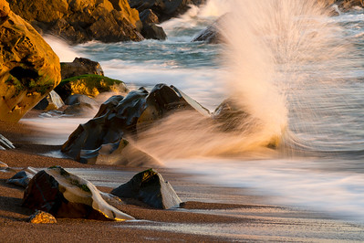 Crashing Surf at Sunset