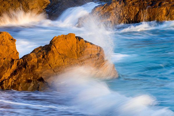 Rocks and Surf at Sunset
