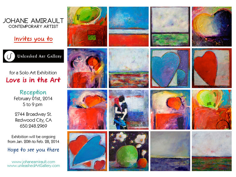 January 20th to February 28th, 2014 - Solo Art Exhibit at Unleashed Art Gallery, Redwood City, CA