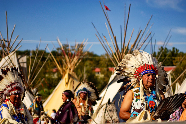 Natives in Regalia and teepees, Pendleton, OR, during the world famous Pendleton Round-up rodeo  (no model release)