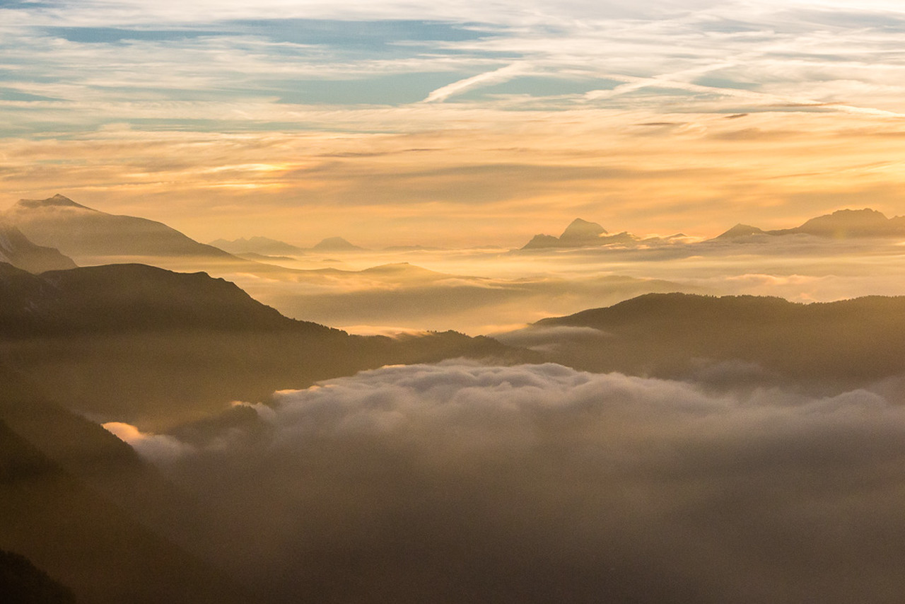 Sunset above Chamonix