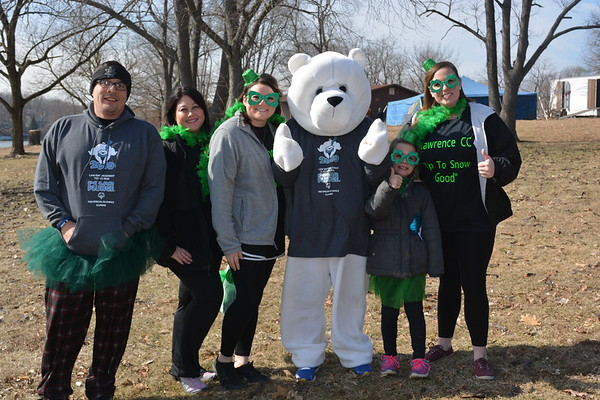 """""""Up to Snow Good,"""" team was made up of a group of workers from Lawrence Correctional Center. Shown from left are:  Galen Dellinger, Melissa Ochs, Camille Kepp, Polar Plunge Bear, Iyla Spillman, and Alisha Blake."""