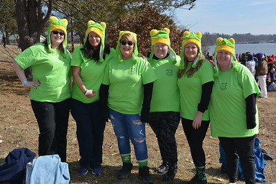 Shelbyville Women of the Moose Lodge 1325 dressed alike in green T-shirts and frog hats in memory of their former plunger coach Jerry Johnson.  Shown from left are: Chelsea Jones, Kelsey Oakley, Coach Sandy Black, Ashli Rhodes, Kim Pinson, Janice Blackwell. Not shown Jennifer Skinner.