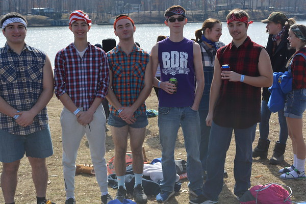 "Members of the Oblong High School National Honor Society came as a group of ""rednecks"" to the Polar Plunge shown from left are: Tristan Sablone, Caleb Newman, Nate Meese, Garrett Tracy, Hayden Seachrest."