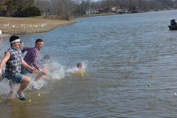 "Members of the Oblong High School National Honor Society came as a group of ""rednecks"" to the Polar Plunge."