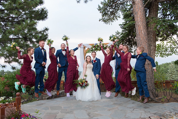 Jumping Wedding Party Portrait at Christies of Genesee