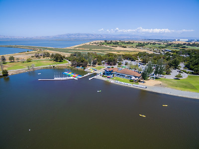 Aerial Scenery. Shoreline Lake. In the distance is Shoreline Slough, Mountain View Slough, Shoreline Golf Links, and NASA Moffett Field (right). Shoreline Park - Mountain View, CA, USA