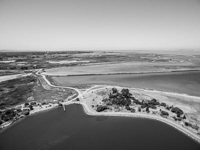 Aerial Scenery. Starting from the bottom, Shoreline Lake, Casey Forebay (Left), Shoreline Slough, Charleston Slough, and Egret Pond (Left). Shoreline Park - Mountain View, CA, USA
