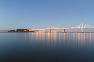 Treasure Island and Bay Bridge. Pier 7 - San Francisco, CA, USA