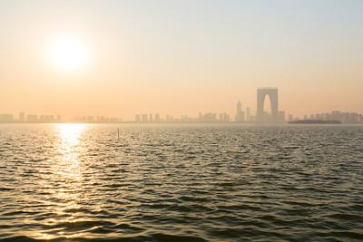 The Gate to the East (东方之门) off in the distance. Jinji Lake (金鸡湖). Suzhou, Jiangsu, China (苏州,江苏,中国)