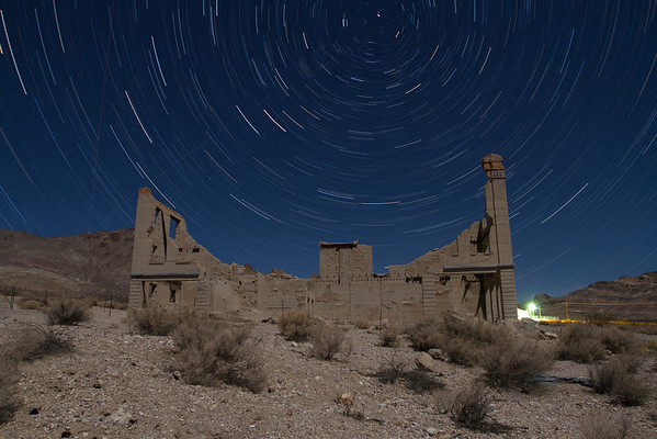 Star Trails. Cook Bank Building. Rhyolite Ghost Town. Rhyolite, NV, USA