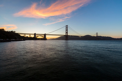 Sunset. Golden Gate Bridge. Torpedo Wharf - San Francisco, CA