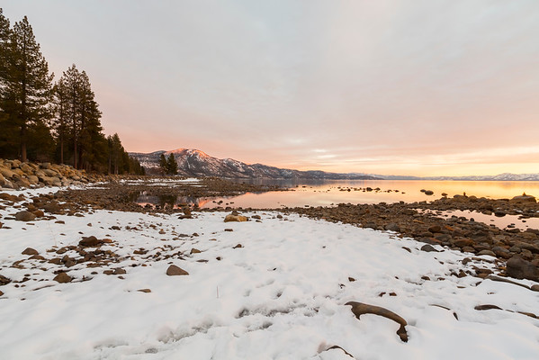 Special Abstract Process. Sunset. Crystal Bay in Lake Tahoe. Incline Village, NV, USA