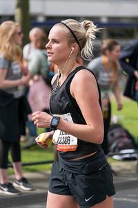 Woman in black running