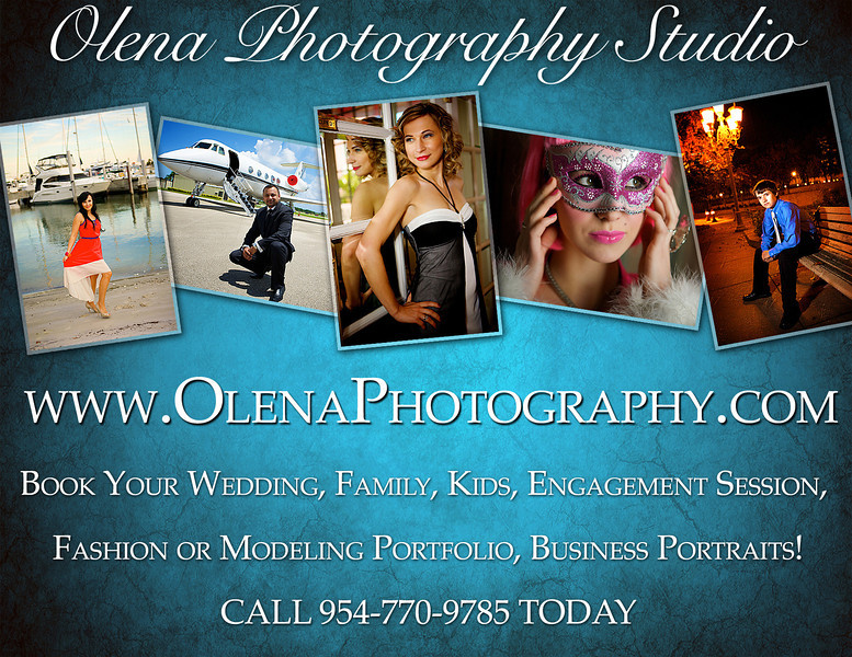 <h3> CALL OLENA TODAY 954-770-9785 </h3> <h3> Olena Photography Studio specializes in weddings and portraits as well as fashion, boudoir, family, children, pet and high school senior photography. In addition to commercial and product photography, we provide event design services featuring Italian wedding story books, holiday cards, art canvas and prints.</h3> <h3>Our photography style is artistic photojournalism with a mix of modern glamor. When we arrange a consultation with you, our client, we discuss your project or event, visions and dreams and at the end we put together a special custom package that suits only you and your special occasion.</h3> <h3>Tampa Bay area beaches (including Clearwater, St Pete Beach, Sarasota) have become top choice for romantic beach wedding location as West coast of Florida is the only place where the sun sets over the water. We have some of the most beautiful sunsets in the world! Tampa wedding photographers get to shoot the most beautiful weddings on the beach all year round!</h3>  <h2>OUR TOP PORTRAIT and WEDDING PHOTOGRAPHY LOCATIONS in TAMPA BAY FLORIDA: </h2> Egmont Key Island, St Pete Beach,  Don Cesar Hotel, Trade Winds Resort, Fort De Soto Park, Sunken gardens, Ybor City, Sand Key beach, Hyde Park, Bayshore Blvd, Downtown Tampa, University of Tampa, Caladesi Island.