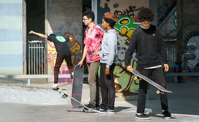 Goup of young kateboarders