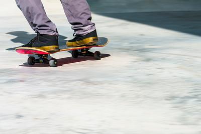 Skateboard in top corner