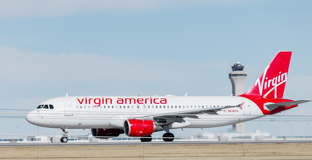 Virgin powers down runway during take off