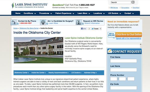 Laser Spine Institute Website