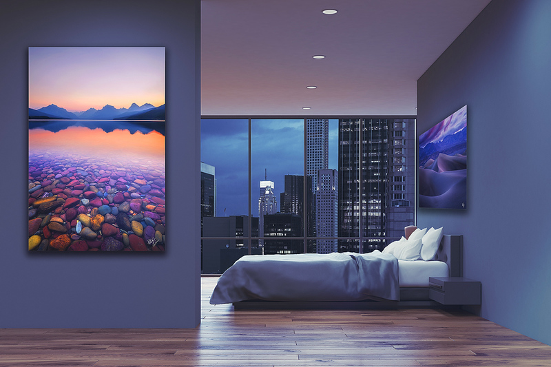 Purple bedroom with poster, side