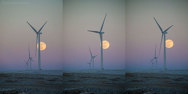 """I decided to be creative and make a triptych from these images of last night's moonrise. It was cold and windy, but the air was very clear. The augmented reality feature of PhotoPills was not working for me, so I wrongly guessed where the moon was going to come up. At least I was looking east. When I finally spotted it, it looked like a radar dish among the wind turbines. I thought to myself, """"When did they put a dish out there?"""" I suddenly realized I was looking at the moon and quickly put my camera in the right position. Jerilee Bennett from the The Gazette paid a surprise visit. She knew I was going to be there with some students, so she took a few snaps of us."""