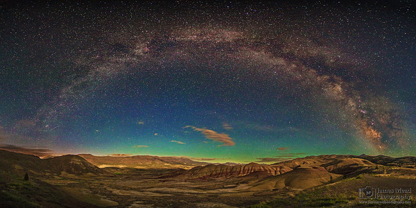 """""""Painted Arch,"""" Milky Way Arch over the Painted Hills, John  Day Fossil Beds National Monument, Painted Hills Unit, Oregon"""