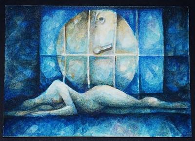 """Mid-night blue"",  Watercolour, 5X 7 "". collection of Uttam Chraborty, Toronto, 2004"