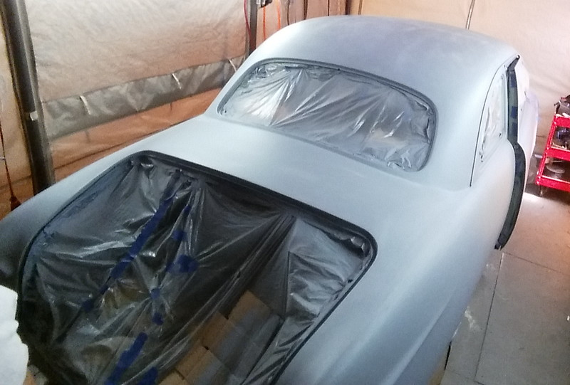 "Ok, guys.. this is what I learned so far. The balance of the body, excluding the fenders, hood, and trunk lid, this single coat of primer took 64 ounces of primer/thinner. The worst thing that can happen when you are painting your car is to run out of paint/thinner/clearcoat, so you have to estimate quantities before hand. I didn't know how much primer it would take, so I mixed 64 ounces of primer/thinner (50/50) to see what it would take and I used every bit of it (three reloads of 21 ounce gun tanks). Well, it turns out that after going through the math of the 100%, 75/25%, 50/50%, 25/75% color coats, then three coats of clear, I'm SHORT of Slow Thinner. Up to this point, I have bought two gallons of color, two gallons of slow thinner, two gallons of clear, one gallon of medium thinner, and one gallon of primer. So today (7/12/2016) I just ordered another gallon of slow thinner. It will be here Monday, July 18 and I will be spraying color and clear the morning of July 19th. So check back for the latest report/pictures Tuesday afternoon! Once you start the process, according to Restoration Shop Acrylic Lacquer data sheet (and PPG's AL data sheet, too), with 15 minutes between coats, once you start the process, it must be completed in one ""sitting""/day with NO sanding of any coats until after clear is finished. So if you run out, you have to sand (clear only) before another coat of clear. NEVER sand metallic/pearl color coat (see the effect on my trunk lid ""redo"" above. Sanding KILLS the metallic/pearl. So I reprimed the trunk lid and started completely over again. NOTE: the best way to estimate your surface area is to cut out a 12""x12"" piece of cardboard or paper and just move it around the area to be measured and count the square feet."