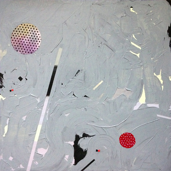 """All Artists Write Songs About The Moon""<br /> <br /> 36"" x 36"" - (ink, acrylic and paper on found canvas)"