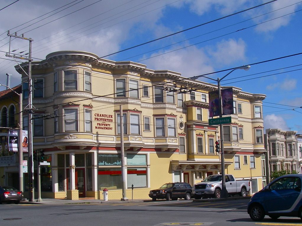 Corner of California and Divisadero - One of our rare commercial buildings, this required a major restoration, performed in 2005. Extensive stripping, repairs, sheet metal, and plaster replacement.