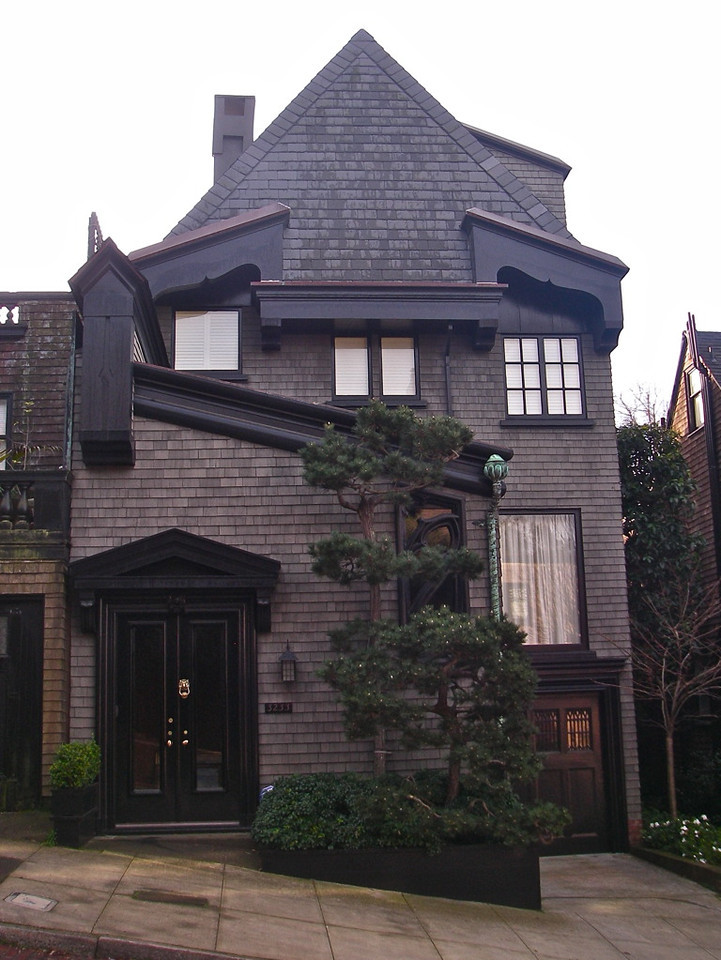 Maybeck designed home on Pacific Avenue. Shingles were stained, trim painted.