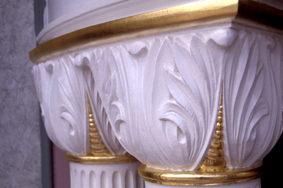 Stripped column captials. 24k Gold leaf.