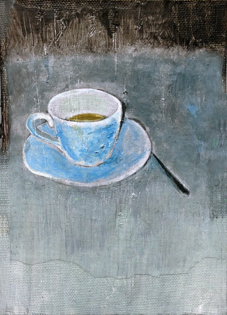 """""""Ashtrays and Coffee Cups"""" 7"""" x 9"""" (acrylic, paper, on canvas board)"""