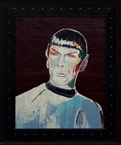 """Spock, 2013""    13.5"" x 15.5"" {framed} - (acrylic, ink, paper on canvas board)"