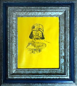 """Father"" (Vader #967)  (ink transfer from original drawing, acrylic and ink on found canvas)"