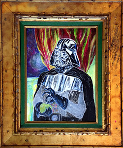 """Vader with Apple"" ""21.5 x 25.5"" {framed} (acrylic and pencil on found canvas)"