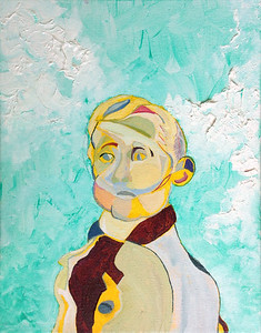 """Portrait of Marsden Hartley as a Young Boy"" (acrylic, charcoal on canvas), 11"" x 14"""