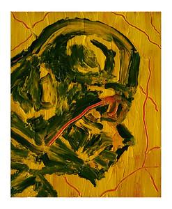 """Green Vader"" (2021)  acrylic on canvas board  8""x10"""