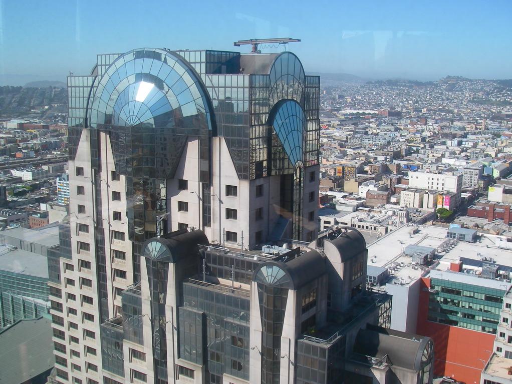 From on high (4 Seasons Residences, looking down at the Hyatt JukeBox).