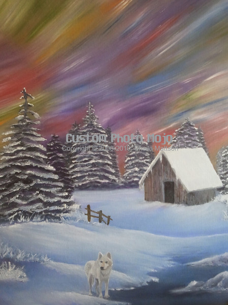 """Aurora Borealis (oil on canvas)<br /> ~20"""" x 30""""<br /> (work in progress)<br /> <br /> $499 USD<br /> <br /> I was inspired to create this painting by my love for Northern MN.<br /> <br /> The last time I saw the northern lights was in the winter of 1998.  They were so fabulous that winter, there were no words to describe them.  My husband and I would stand outside our rural home and stare in awe watching the lights streak and stretch across the sky starting from the horizon line and extending over our heads.<br /> <br /> The painting started with only northern lights but I felt like it was missing something... Something important that would add to the painting but not interfere with the peace and serenity of the scene.  It took only a second to realize the missing element was a lone wolf.<br /> <br /> I didn't have a picture of any wolves so I logged onto the International Wolf Center's website and watched the wolves via their webcams.  The wolf in my painting was one of the older """"retired"""" wolves.  It was quite a treat to watch this wolf."""