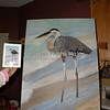 Great Blue Heron (acrylic on canvas)<br /> <br /> In this photo it looks like I was making changes to the head and beak.  <br /> <br /> With a few artistic liberties taken, I mirrored this painting to a photograph of a Heron (found in the Birds Gallery).