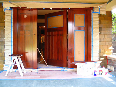 Palo Alto Residence. Front door, almost finished.
