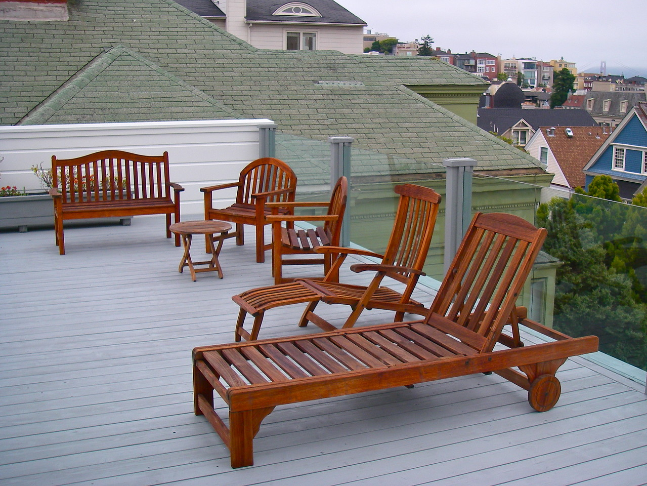 Teak deck furniture has been restored to former glory.