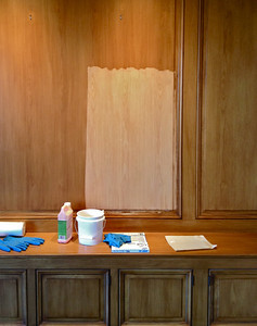 Pacific Avenue Residence, pecan Library panelling, strip sample (owner disliked the traditional honey-yellow pecan finish). It had also been heavily shaded (color added to the finish) so that the wood itself was somewhat obscured.