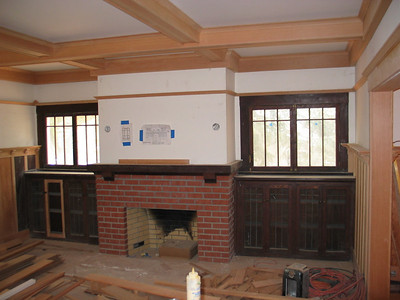 Palo Alto Residence. Front Parlor. Some existing original woodwork, and some new wood.