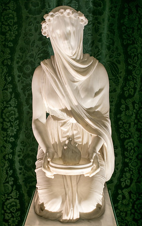 Veiled Vestel Virgin Statue - Chatsworth House Derbyshire UK 2016
