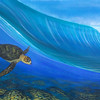 Hawksbill in the wave