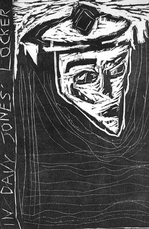 In Davy Jones' Locker, woodcut, 2009