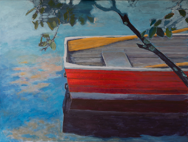 25 The red boat - 120x90cm acryllic painting on canvas
